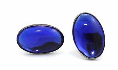 BIG Vtg TAXCO Modernist SIGNED Sterling Silver BLUE GLASS Cufflinks