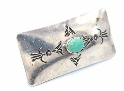 SIGNED Vtg NAVAJO Modernist STAMPED Sterling Silver TURQUOISE Money Clip by LDB