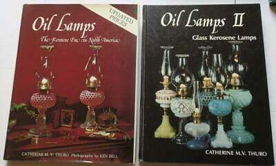 OIL LAMPS I & II:Glass Kerosene Lamps,2 Books by Catherin Thuro,100s ID'd,photos