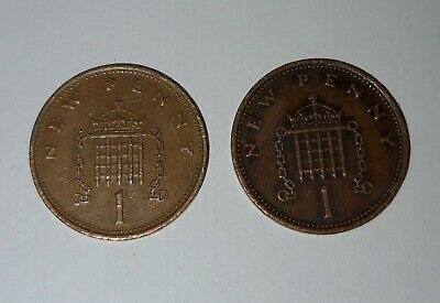 2 Uk New Pennies 1971 and 1980 1p Coins Very Rare Valuable Coins.