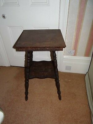 Unique character Small Carved Wood arts crafts 1900s sidelamp tall  table KEW