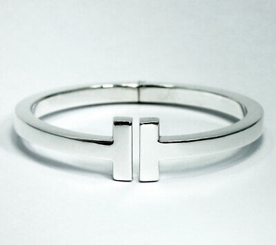 Tiffany & Co T square hinged cuff bracelet 925 sterling silver medium .87ozt box
