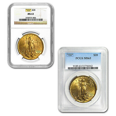 $20 Saint-Gaudens Gold Double Eagle MS-63 PCGS/NGC Random
