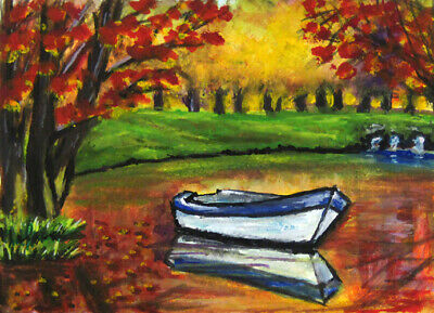 ACEO Original Art Painting Lake Autumn Fall Forest Boat by Aglaya