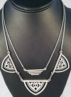 Lucky Brand Distressed Silver Reversible Double Sided Two Strand Cutout Necklace