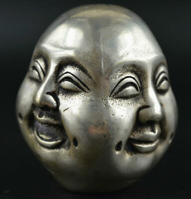 China Tibet silver life 4 emotions four faces of Buddha head statue a01