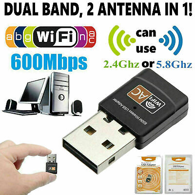 Mini Dual Band 600Mbps USB WiFi Wireless Adapter For Notebook Laptop PC Desktop