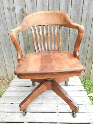 Vintage Wooden Bankers Arm Chair by B.L. Marble