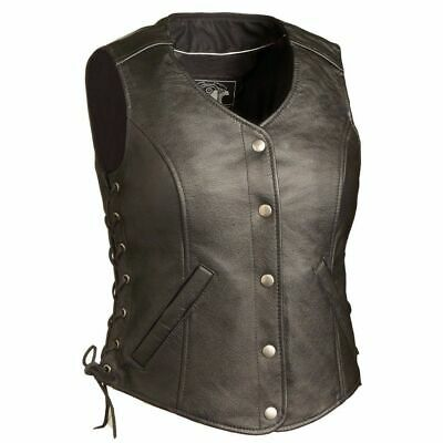 "Ladies Leather Vest FIL566CSL (Honey Badger ) 2"" Longer"