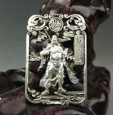 chinese old Tibet silver hand-carved Guan Yu statue pendant a01