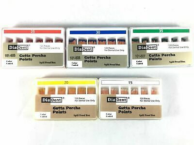 DIADENT Gutta Percha Points Endo (120 Pieces/Pack) 5 Different Sizes Available