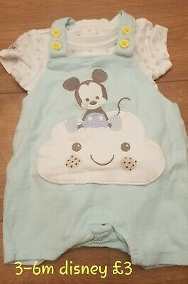 Baby boys clothes 3-6 months romper disney store Mickey mouse outfit