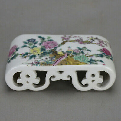 China old hand-carved porcelain famille rose glaze bird & flower paperweight c01