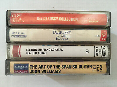 Lot of 4 Classical Music Cassette Tapes (Debussy, Beethoven, Spanish Guitar)