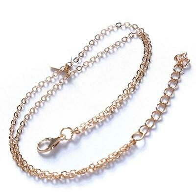Double Layer Gold Toned Foot Chain Anklet Thin Summer Beach Ankle Bracelet O3