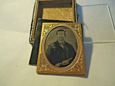 9th. P Ambrotype Armed Civil War Soldier, Confederate? in 1/2 Case.