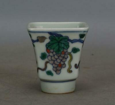 chinese old porcelain hand-painted pastel grapes grain cup /chenghua mark 06816