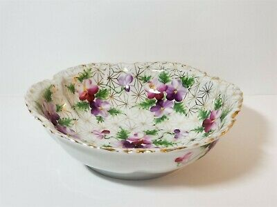 """Japanese Signed Porcelain Bowl Lilac's & Daisies Purple White & Gold  10"""" Old"""