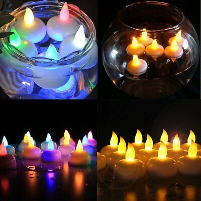 24X Waterproof LED Floating Tea Light Flameless Candles Wedding Party Home Decor