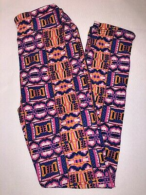 (BoxQ) LuLaRoe Kids Leggings L/XL New Pink Blue White Yellow Aztec