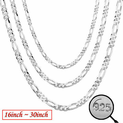 Wholesale 925 Silver Chain Necklace Women Men Collar 16''-30'' inch Jewelry 2MM