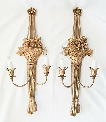 Pair Large Vintage Italian Carved Gilt Wood Flower Basket Tassels Light Sconces