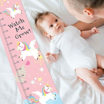 Personalised Pink Unicorn Baby Growth Height Chart Design Decorations Gift