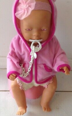 Baby Born Vintage Doll Dressed with Pink Eyes & Genuine Accessories See Photos