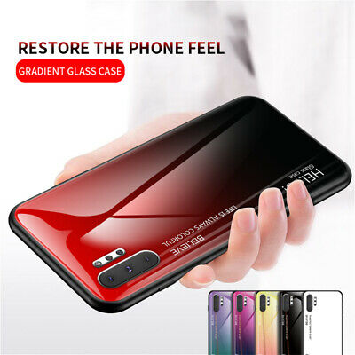 For Samsung Galaxy Note 10 A70 A50 Gradient Tempered Glass Hard Back Case Cover