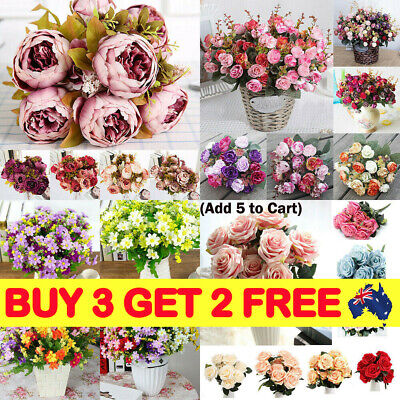 5-28Heads Rose Bouquet Artificial Flower Hydrangea Silk Peony Wedding Party R