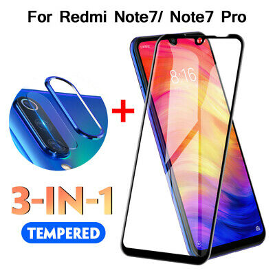 For Xiaomi Redmi Note 7 Tempered Glass Protector &Camera Lens Film & Metal Ring