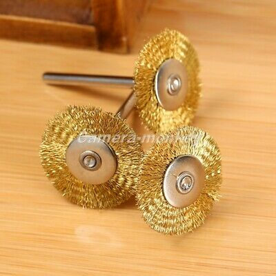 UK 15Pcs 25mm Brass Wire Cup Wheel Brush for Weld Die Power Grinder Rotary Drill