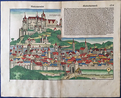City view WÜRZBURG Nuremberg Chronicle 1493 - Liber chronicarum Schedel GERMANY