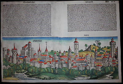 City view AUGSBURG Nuremberg Chronicle 1493 - Liber chronicarum Schedel SWABIA