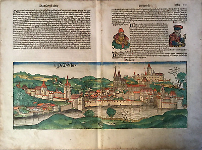 City view PASSAU Nuremberg Chronicle 1493 - Liber chronicarum Schedel PATAVIA