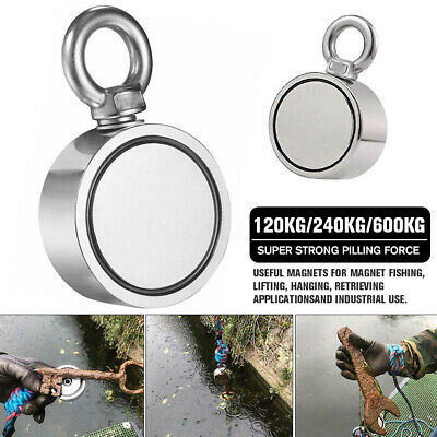 Round Double Sided Super Strong Neodymium Fishing Magnet Pulling Force 120/600KG
