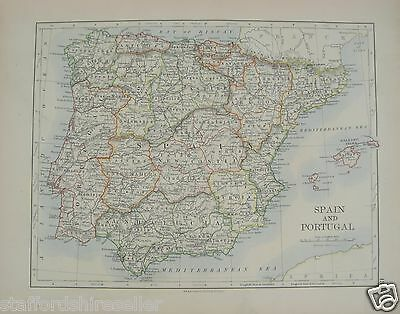 Antique 1895 Map of Spain and Portugal by W & AK Johnston