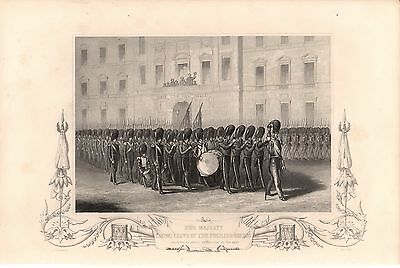 Antique Victorian Engraving Crimea War c1860 Fusilier Guards Departure forEast
