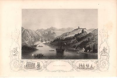 Antique Victorian Engraving Crimean War c1860 Balaklava by E Dore and H Bibby