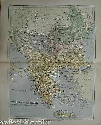 Antique Victorian Map Turkey Europe Greece Romania Servia c1880 William Collins
