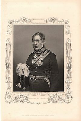 Antique Victorian Engraving Crimean War Vintage c1860 General Sir H Bentink K C