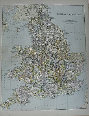 Antique Victorian c1880 Map: England and Wales by William Mackenzie