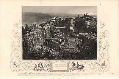 Antique Victorian Engraving Crimea War Vintage c1860: Inside  Redan by H Bibby