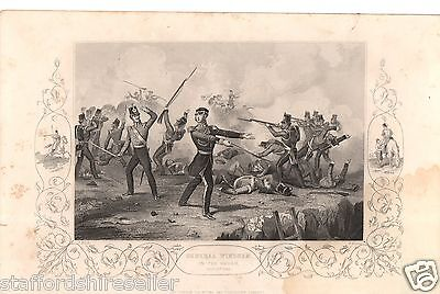 Antique Victorian Engraving Crimean War Vintage c1860: General Windham Redan