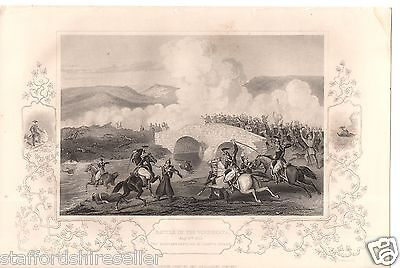 Antique Victorian Engraving Crimean War c1860: Battle Tchernaya Traktir Bridge