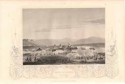 Antique Victorian Battle of Citate Crimean War Print Jan 6th 1854 Vintage c1860