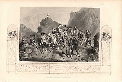 Antique Victorian Engraving Crimean War Vintage c1860: Removal Wounded Soldiers