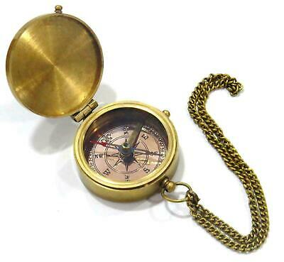 """Go Confidently Poem"" Solid Brass Compass With Leather Case"