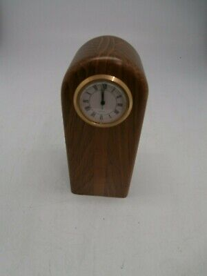 Small clock set in solid wood fumed oak and acacia