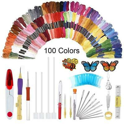 136pcs/Set DIY Embroidery Knitting Punch Needle Pen Magic Sewing Tool Threads